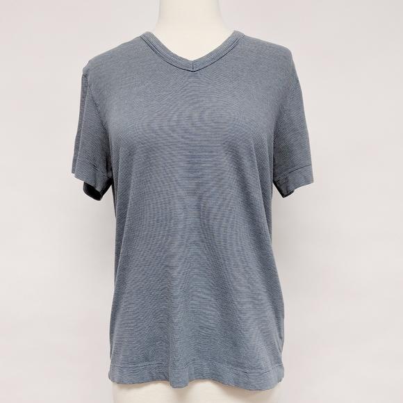 Theory Tops - theory | blue micro stripe v-neck short sleeve tee